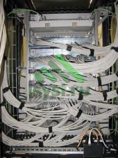 Обвязка проводов UTP в шкафу СКС